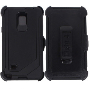Heavy Duty Defender Impact Rugged with Built-in Screen Protector and Clip Case Cover for Samsung Galaxy Note 4 (Black)