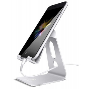 Adjustable Cell Phone Stand, Lamicall Phone Stand : [Update Version] Cradle, Dock, Holder Compatible with iPhone Xs XR 8 X 7 6 6s Plus SE 5 5s Charging, Accessories Desk, Android Smartphone - Silver