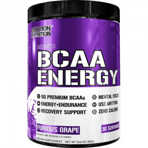 Evlution Nutrition BCAA Energy - High Performance, Energizing Amino Acid Supplement for Muscle Building, Recovery, and Endurance, Furious Grape (30 Servings)