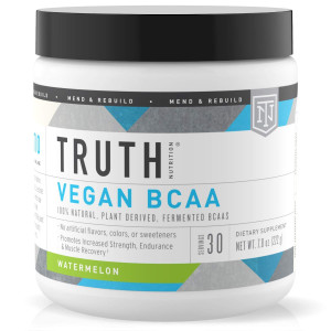Truth Nutrition Fermented Vegan BCAA Powder, Branched Chain Amino Acids - Plant Based BCAAs for Muscle Building, Recovery, and Endurance, Post Workout Supplement - Watermelon,30 Servings