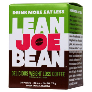 Lean Joe Bean - Drink More, Eat Less, Delicious Dark Roast Arabica Weight Loss Instant Coffee, 1 Box of 24 Packets