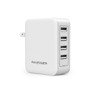 USB Wall Charger RAVPower 40W 8A 4 Port Travel Charger Charging Station, Compatible iPhone Xs XS Max XR X 8 7 Plus, iPad Pro Air Mini, Galaxy S9 S8 Note 8 Edge, Smartphone, Tablet and More (White)