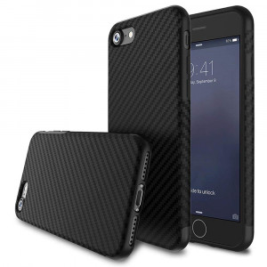 for iPhone 5S Case/iPhone SE Case,L-FADNUT [Carbon Fiber Lines] TPU Silicone Ultra Slim Back Case,Shock Absorbing Bumper Protective Case Cover for Apple iPhone 5/5S/SE Black