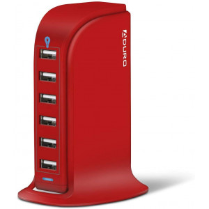 Aduro 40W 8A 6-Port USB Desktop Charging Station Hub Wall Charger for Tablets and Smartphones with Smart Flow Technology (Solid Red)