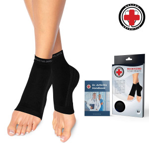 Dr. Arthritis Doctor Developed Copper Foot Compression Sleeves/Plantar Fasciitis Socks (Pair) Doctor Written Handbook Guaranteed Relief Plantar Fasciitis, Heel Support and Ankle Conditions