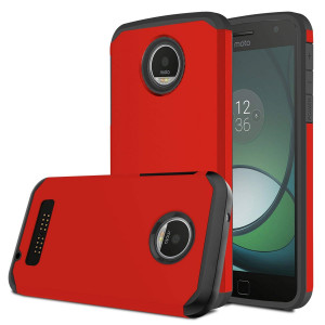 Moto Z Play Case, Venoro [Shockproof] Slim Hybrid Dual Layer Armor Defender Rugged Protective Case Cover for Motorola Moto Z Play / Moto Z Play Droid (Red)