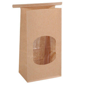 "BagDream Bakery Bags with Window Small Wax Kraft Paper Bags 100Pcs 3.54x2.36x6.7"" Tin Tie Tab Lock Bags Brown"