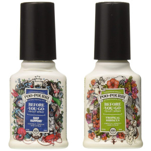 Poo-Pourri Before-You-Go Toilet Spray, Beach Bum Set of 2, Ship Happens and Tropical Hibiscus Scent