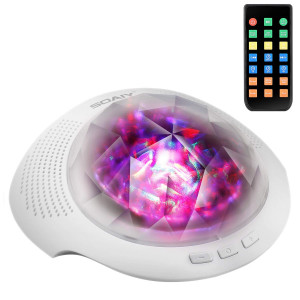 SOAIY Colorful Aurora Led Night Light and Sleeping Sound Machine with Remote,Timer,Built-in Bluetooth Speaker for Kids, White