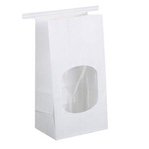 "BagDream Bakery Bags with Window Wax Kraft Paper Bags 100pcs 3.54x2.36x6.7"" Tin Tie Tab Lock Bags White"