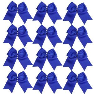 8 Jumbo Cheerleader Bows Ponytail Holder Cheerleading Bows Hair Tie More Colors Available (Royal Blue)