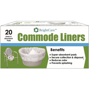 Commode Liners (20 COUNT) - Sanitary Bag Liners with Odor Reducing Absorbent Gelling Pad for Bedside Commode Pail Toilet - By BrightCare