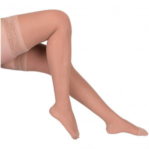 EvoNation Women's USA Made Thigh High Graduated Compression Stockings 20-30 mmHg Firm Pressure Ladies Sheer Socks Lace Top Quality Support Hose - Best Comfort Circulation (Medium, Tan Beige Nude)