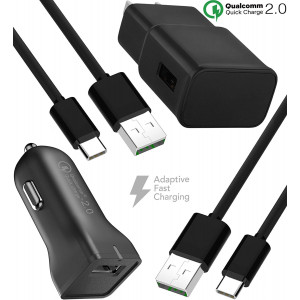 Galaxy S9 Fast Wall and Car Charger Set with 2x Type-C 2.0 Cable / S9 Plus/Galaxy S8 / Galaxy S8 Plus/Note 8 / Charger by BoxGear Compatible with Samsung Products - Up to 50% faster charging!