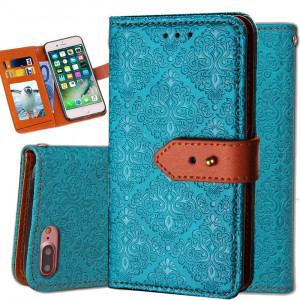 iphone 6S Plus Leather Wallet Case,Auker Durable Folio Flip Vintage Fold Stand Case Full Body Shock Scratch Drop Protection Pocket Purse Cover with Card HoldersandWrist Strap for Women/Men-Blue