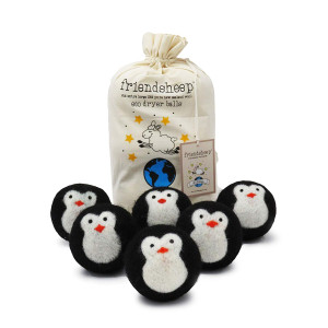 Organic Eco Wool Dryer Balls - Black Penguin - 6 Pack - 100% Handmade, Fair Trade, Organic, No Lint - Premium Quality Cool Friends
