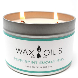 Wax and Oils Soy Wax Aromatherapy Scented Candles (Peppermint Eucalyptus) 16 Ounces. Single