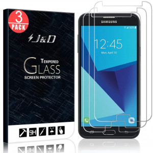 [3-Pack] Galaxy J7 2017/Galaxy J7 V/Galaxy J7 Perx/Galaxy J7 Sky Pro Screen Protector, JandD [Tempered Glass] HD Clear Ballistic Glass Screen Protector for Samsung Galaxy J7 2017/J7 V/J7 Perx/J7 Sky Pro