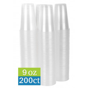 TashiBox 9 oz clear plastic cups - 200 count - Disposable cold drink party cups