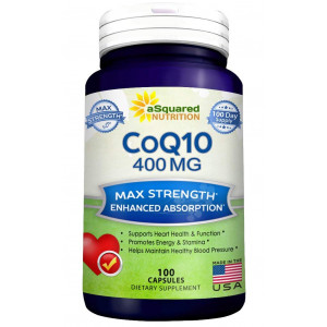 Pure CoQ10 (400mg Max Strength, 100 Capsules) - High Absorption Coenzyme Q10 Ubiquinone Supplement Pills, Extra Antioxidant CO Q-10 Enzyme Vitamin Tablets, Coq 10 for Healthy Heart and Blood Pressure
