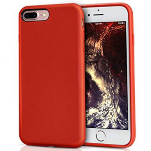 MILPROX Silicone Case, Pretty Series Liquid Silicone Gel Rubber, Shockproof Case Microfiber Cloth Lining Cushion Compatible iPhone 7 Plus/8 Plus - Red