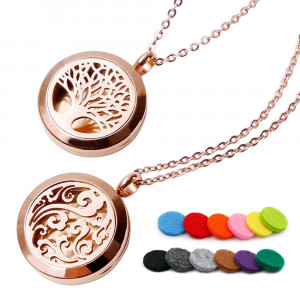"""RoyAroma 2PCS Rose Gold Aromatherapy Essential Oil Diffuser Pendant Locket Necklace, 24"""" Adjustable Chain Stainless Steel Perfume Jewelry 12 Felt Pads Gift Set"""