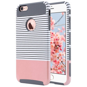 ULAK iPhone 6s Plus Case, iPhone 6 Plus Case, Slim Dual Layer Protection Scratch Resistant Hard Back Cover Shockproof TPU Bumper Case for Apple iPhone 6/6S Plus 5.5 inch-Minimal Rose Gold Grey