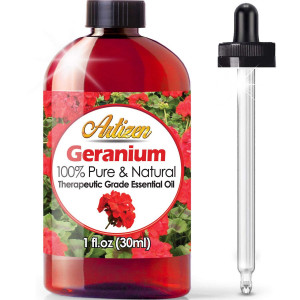 Artizen Geranium Essential Oil (100% PURE and NATURAL - UNDILUTED) Therapeutic Grade  - Huge 1oz Bottle - Perfect for Aromatherapy, Relaxation, Skin Therapy and More!
