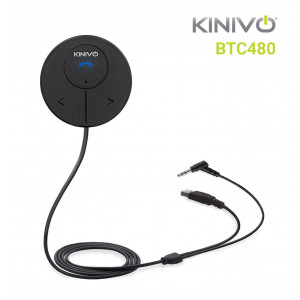 Kinivo BTC480 Bluetooth Hands-Free Car Kit for Cars with Aux Input Jack (3.5 mm) -with Magnetic Mount, Dual Port USB Charger and Multi-Point Connectivity