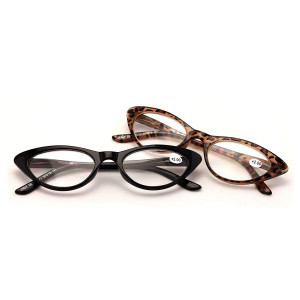 V.W.E. 2 Pairs Deluxe Female Cateye Vintage Reading Glasses Women Readers
