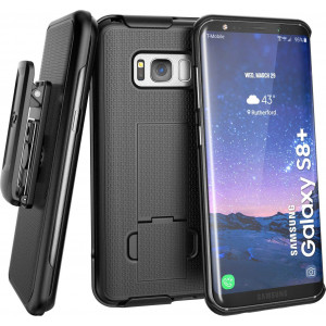 Galaxy S8 Plus Belt Clip Holster Case (Secure-fit) DuraClip Combo by Encased (Samsung S8+) (Smooth Black)