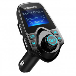 """VicTsing Bluetooth FM Transmitter for Car, Wireless Bluetooth Radio Transmitter Adapter with Hand-Free Calling and 1"""" LCD Display, Music Player Support Tf Card USB Flash Drive Aux-Black"""