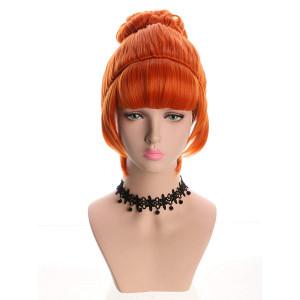 Yuehong Cosplay Wig Orange Bun Curly Synthetic Halloween Hair Wigs