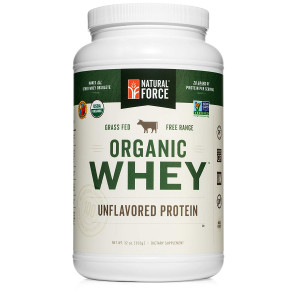 Natural Force Undenatured Organic Whey Protein Powder *UNFLAVORED* Grass Fed Whey from California Farms  Raw Organic Whey, Paleo, Gluten Free, Natural Whey Protein, 32 oz. Bulk