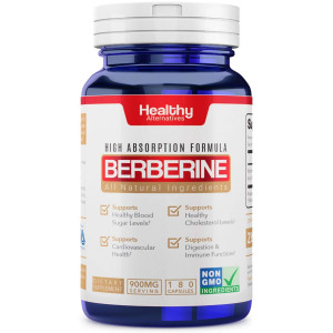 Premium Natural Berberine Supplement 900mg 180 Capsules 3 Month Supply Made in USA Non-GMO - Supports Healthy Blood Sugar Levels and Metabolism, Improves Immunity, Digestion and Cardiovascular Health