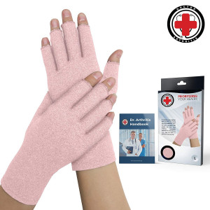 Doctor Developed Pink Ladies Arthritis Compression Gloves and Doctor Written Handbook -Relieve Arthritis Symptoms, Raynauds Disease and Carpal Tunnel (Medium)