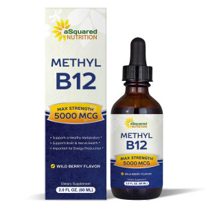 Vitamin B12 Sublingual Liquid Drops - 5000 MCG Supplement with Methylcobalamin (Methyl B-12) - Max Absorption B 12 to Increase Energy and Metabolism - Vegan Friendly - 2 fl oz