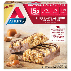 Atkins Protein-Rich Meal Bar, Chocolate Almond Caramel, 5 Count
