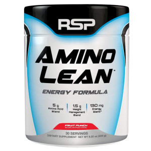 RSP AminoLean - Amino Energy + Fat Burner, Pre Workout, Amino Acids and Weight Loss Powder for Men and Women, Fruit Punch, 30 Servings