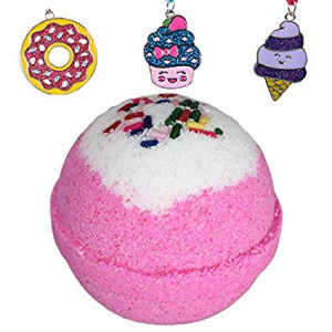 Birthday Surprise BUBBLE Bath Bomb with Surprise Girls Necklace Inside by Two Sisters Spa, Best Gift Idea, Large Scented Spa Fizzy, Fun Color, Lush Scent, Kid Safe, Vegan, Hand-made in USA