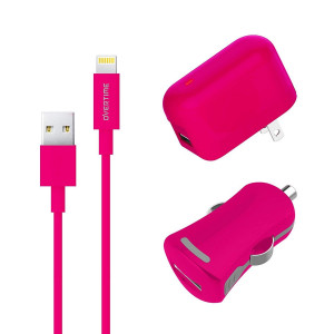 Apple MFI Certified Home Charger Adapter and Lightning Cable with Car Charger - 2.4 Amp Charger Kit with Rapid Charge Apple Lightning to USB Cable for iPhone iPad iPod - Pink