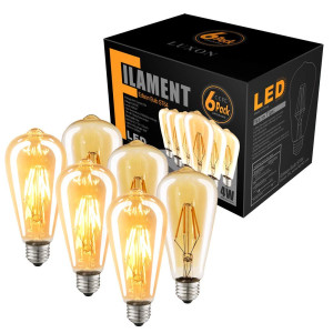 6-Pack Edison LED Light Bulb Dimmable 2700K 4W (40W Equivalent) Antique Vintage Style Light E26 Base Amber Filament Bulb for Wall Sconces Pendant Lighting by LUXON