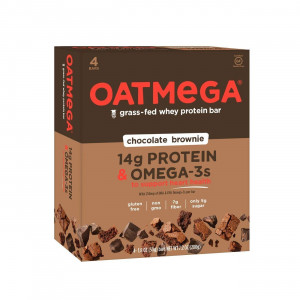 OATMEGA Protein Bar, Chocolate Brownie, Energy Bars Made with Omega-3 and Grass-Fed Whey Protein, Healthy Snacks, Gluten Free Protein Bars, Whey Protein Bars, Nutrition Bars, 1.8 Ounce (4 Count)