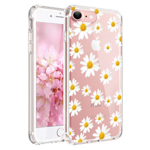 JIAXIUFEN Clear Slim Shockproof Flower Floral Design Soft Flexible TPU Silicone Back Cover Phone Case Compatible with iPhone 7 and iPhone 8 - Little Daisies