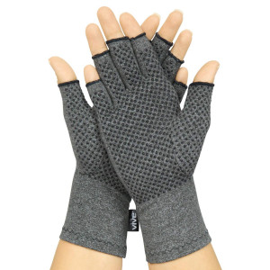 Arthritis Gloves with Grips by Vive - Textured Open Finger Compression Hand Gloves for Rheumatoid and Osteoarthritis - Joint Pain Relief for Men and Women (Medium)