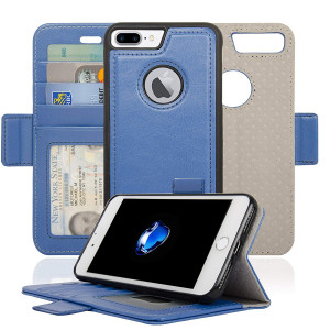 Navor Detachable Magnetic Wallet Case RFID Protection, Logo Hole, Compatible for iPhone 7 Plus [Vajio Series]-Hot Blue(IP7PVJHB)