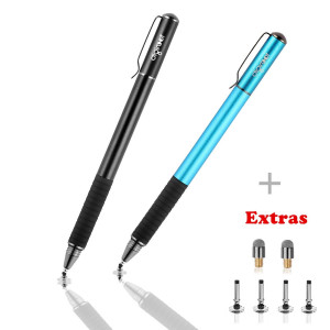 Digiroot Universal Stylus,[2-in-1] Disc Stylus Pen 2018 UPDATED Touch Screen Pens for All Touch Screens Cell phones, Tablets, Laptops, 6 Replacement Tips (Black/Blue)