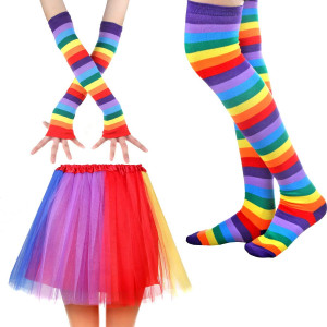 IETANG Women's Rainbow Long Gloves Socks and 3 Layered Tulle Tutu Skirt Party Accessory Set