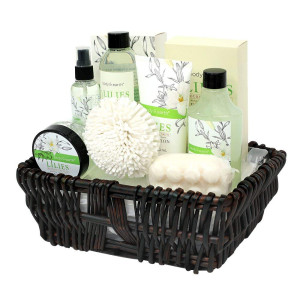 Gift Baskets for Women, Body and Earth Spa Gifts for Her, Lily 10pc Set, Best Gift Idea for Women