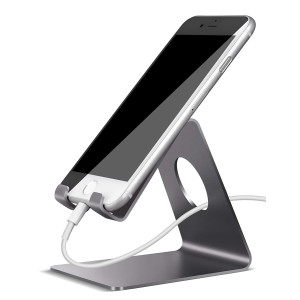 Lamicall Cell Phone Stand, Phone Dock : Cradle, Holder, Stand Compatible with Switch, All Android Smartphone, Phone 6 6s 7 8 X Plus 5 5s 5c XS Max XR Charging Accessories Desk - Gray